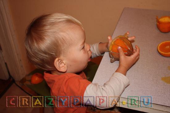 разрезаем апельсины пополам и вставляем половинки в соковыжималку - утренний сюрприз от ребенка