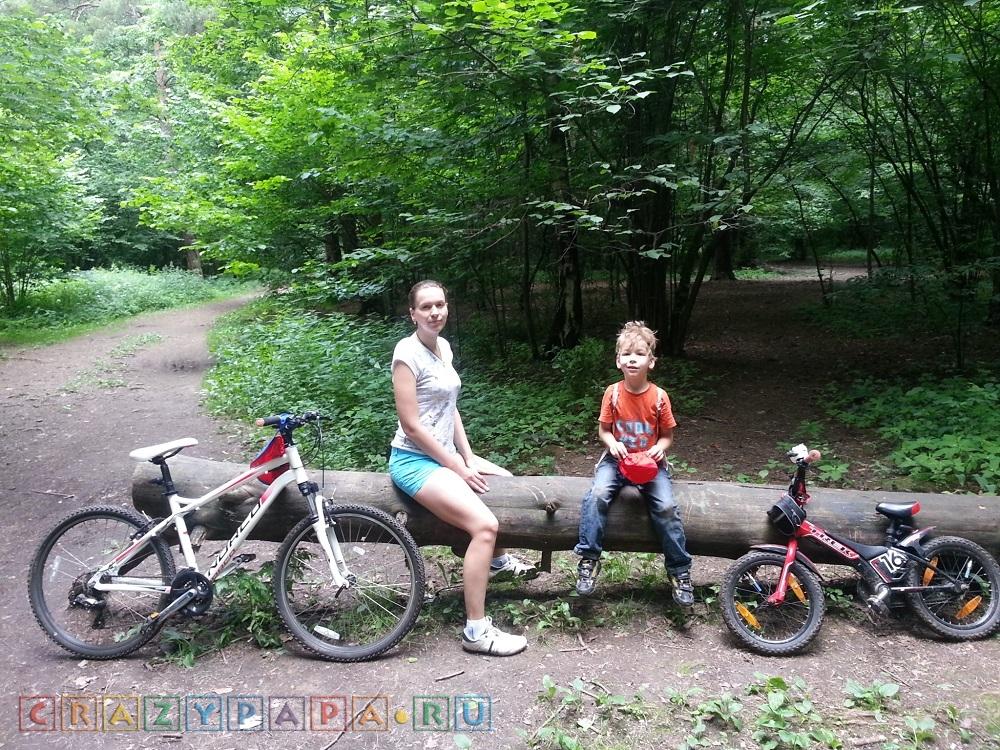 Крейзимама с пятилетним сыном на двухколесных великах на привале в лесу
